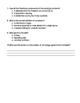 Grade 5 McGraw Hill WonderWorks Unit 2 Week 1 Reading Assessment