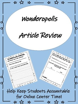 Wondercropolis Article Review Sheet