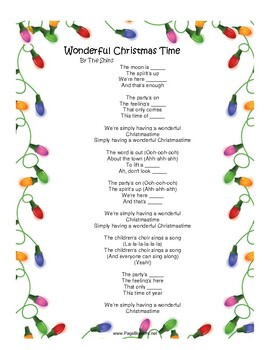 Wonderful Christmas Time Song Worksheet