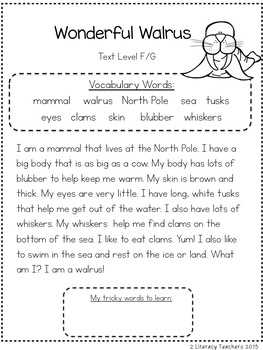 Wonderful Walrus: CCSS Aligned Leveled Reading Passages and Activities