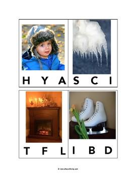 Wonderful Winter Alphabet Clip Cards - Beginning Sounds