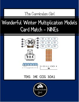 Wonderful Winter Multiplication Models  Card Match - NINEs (3.4E, 3.OA.1)