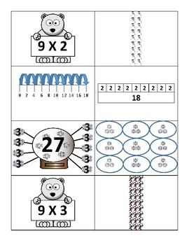 Wonderful Winter Multiplication Models  Card Match - NINEs (3.4E, 3.OA.1)