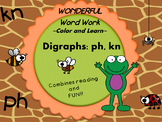 Wonderful Word Work Printable- PH and KN digraphs - Read and Color