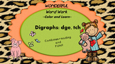 Wonderful Word Work Printable- dge and tch digraphs - Read and Color