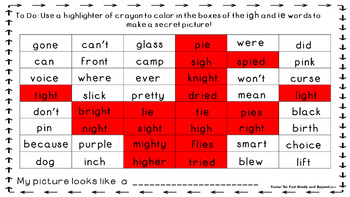 Wonderful Word Work Printable- igh and ie digraphs - Read and Color