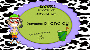 Wonderful Word Work Printable- vowel pairs oy and oi  - Read and Color