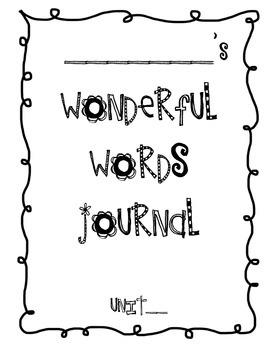Wonderful Words Journal Vocabulary Book