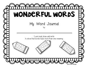 Multiple Meaning Words Journal for Kindergarten and FIrst Grade