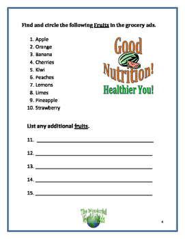 Wonderful World of Ads: NUTRITION - Learning Activities Using Grocery Store Ads