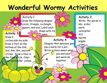 Wonderful Wormy Activities Center Writing, Math, ABC Order