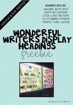 Wonderful Writers Display Headings FREEBIE!