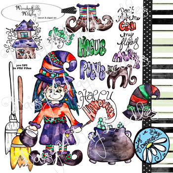 Wonderfully Witchy - WaterColor - Clipart