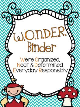 Wonderland Binder Covers for Students