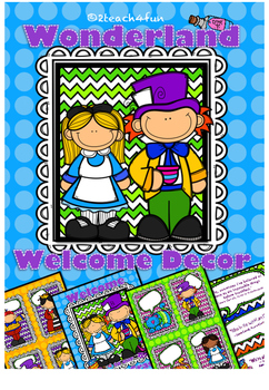 Wonderland Classroom Decor- Welcome and Name Plates