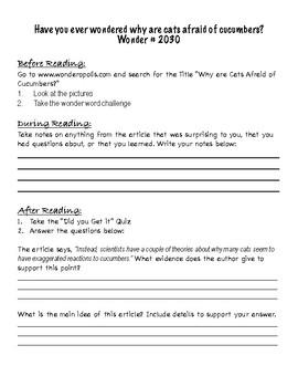 Wonderopolis Comprehension Guide FREEBIE