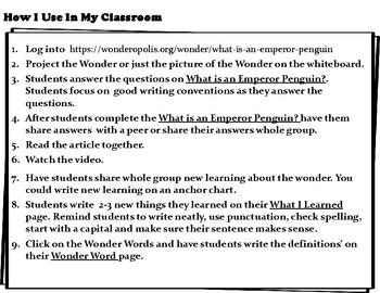 Wonderopolis Emperor Penguins Writing-Non-Fiction-Math- Craft Unit