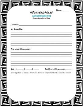 Wonderopolis Recording Worksheet