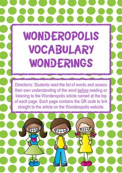 Wonderopolis Vocabulary Wonderings