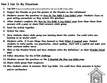 Wonderopolis Log Cabin Writing-History-Math and STEM Challenge Unit