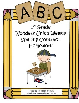 Wonders McGraw-Hill Differentiated 1st Spelling Homework Units 1-6 (Editable)