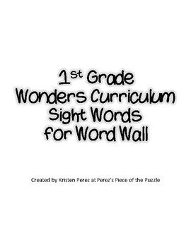 Wonders 1st Grade Sight Words in Black and White for Word Wall