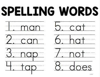 First Grade Wonders Spelling List