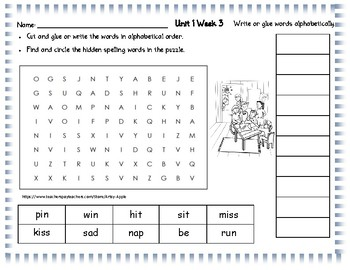 Wonders Spelling Unit 1 Word Search