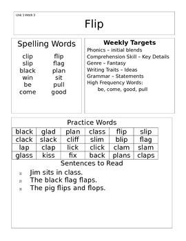 Wonders 1st Grade Unit 1 Homework