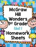 Wonders 1st Grade Unit 1 Homework Sheets