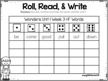 Wonders 1st Grade Unit 1 Roll and Read Bundle