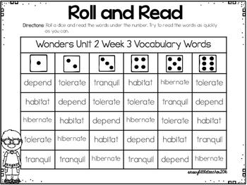 Wonders 1st Grade Unit 2 Roll and Read Bundle