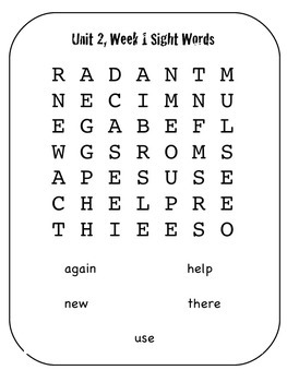 Wonders 1st Grade, Unit 2 Word Searches