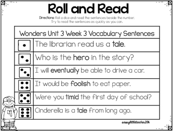 Wonders 1st Grade Unit 3 Roll and Read Bundle