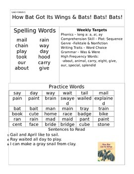 Wonders 1st Grade Unit 4 Homework