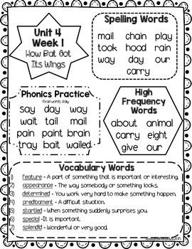 Wonders 1st Grade Unit 4 Homework Sheets
