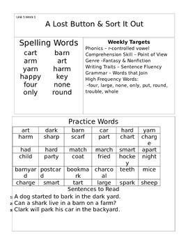 Wonders 1st Grade Unit 5 Homework