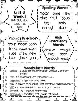Wonders 1st Grade Unit 6 Homework Sheets