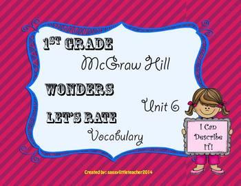 Wonders 1st Grade Unit 6 Let's Rate It Vocabulary