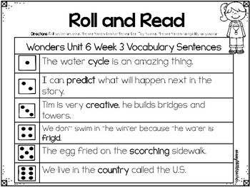 Wonders 1st Grade Unit 6 Roll and Read Bundle