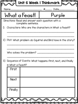 Wonders 1st Grade Unit 6 Week 1 Literature Circles