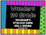 Wonders 1st Grade Vocabulary Practice Game - Unit 1 Bundle