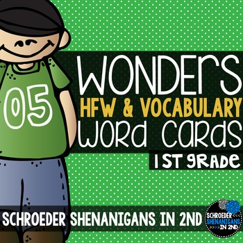 Wonders 1st grade word cards Units 1-6