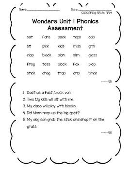 Wonders 1st grade Unit 1 Phonics Assessment