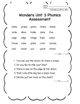 Wonders 1st grade Unit 3 Phonics Assessment