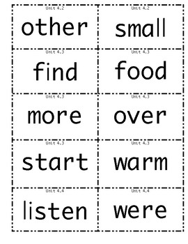 Wonders 1st grade High Frequency Words Unit 4