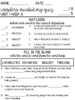 Wonders 2017 Grade 4 Unit 1 Week 4 Vocabulary Quiz