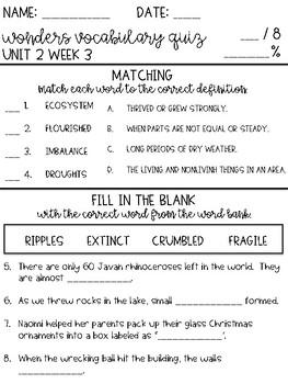 Wonders 2017 Grade 4 Unit 2 Week 3 Vocabulary Quiz