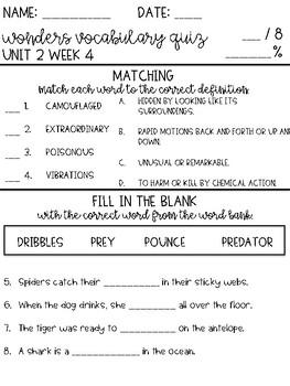 Wonders 2017 Grade 4 Unit 2 Week 4 Vocabulary Quiz