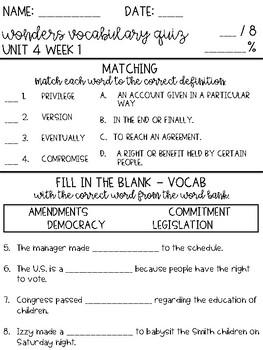 Wonders 2017 Grade 4 Unit 4 Vocabulary Quiz BUNDLE